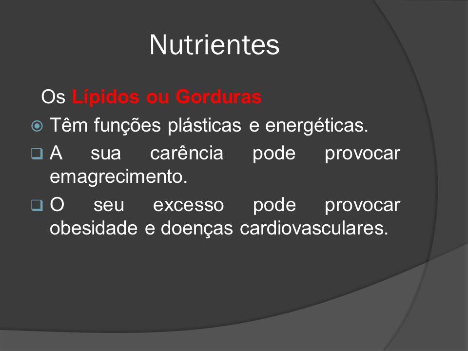 Nutrientes Os Lípidos ou Gorduras Têm funções plásticas e energéticas. A sua carência pode provocar emagrecimento. O seu excesso pode provocar obesida