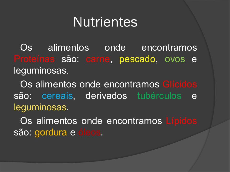 Nutrientes Os alimentos onde encontramos Proteínas são: carne, pescado, ovos e leguminosas. Os alimentos onde encontramos Glícidos são: cereais, deriv