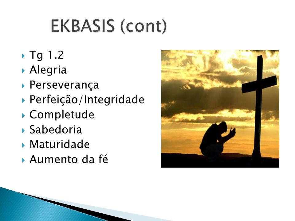 Tg 1.2 Alegria Perseverança Perfeição/Integridade Completude Sabedoria Maturidade Aumento da fé