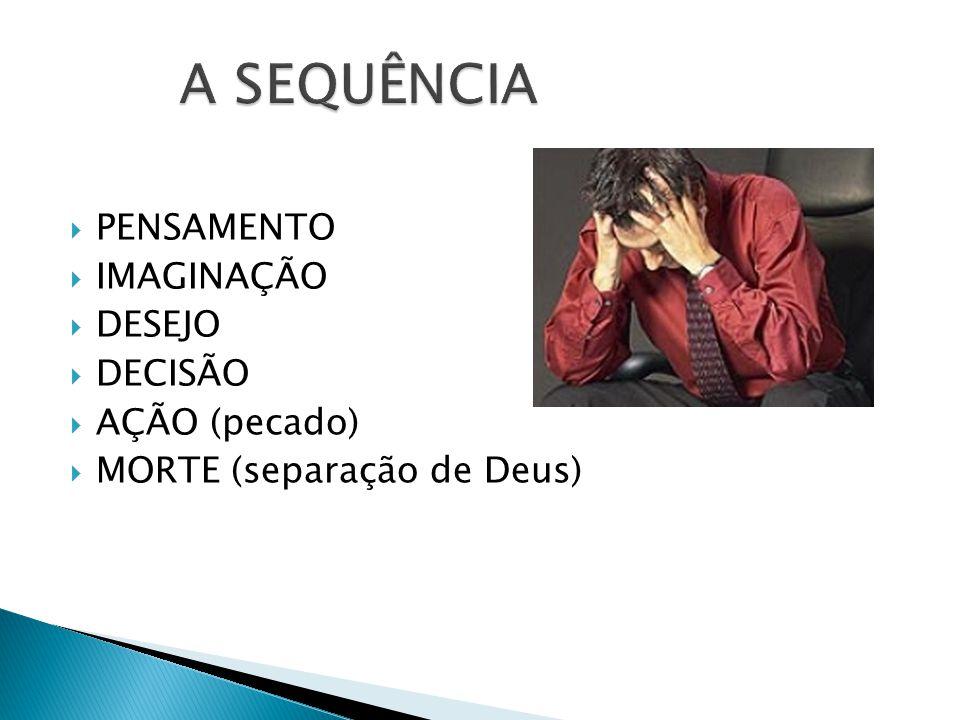PENSAMENTO IMAGINAÇÃO DESEJO DECISÃO AÇÃO (pecado) MORTE (separação de Deus)