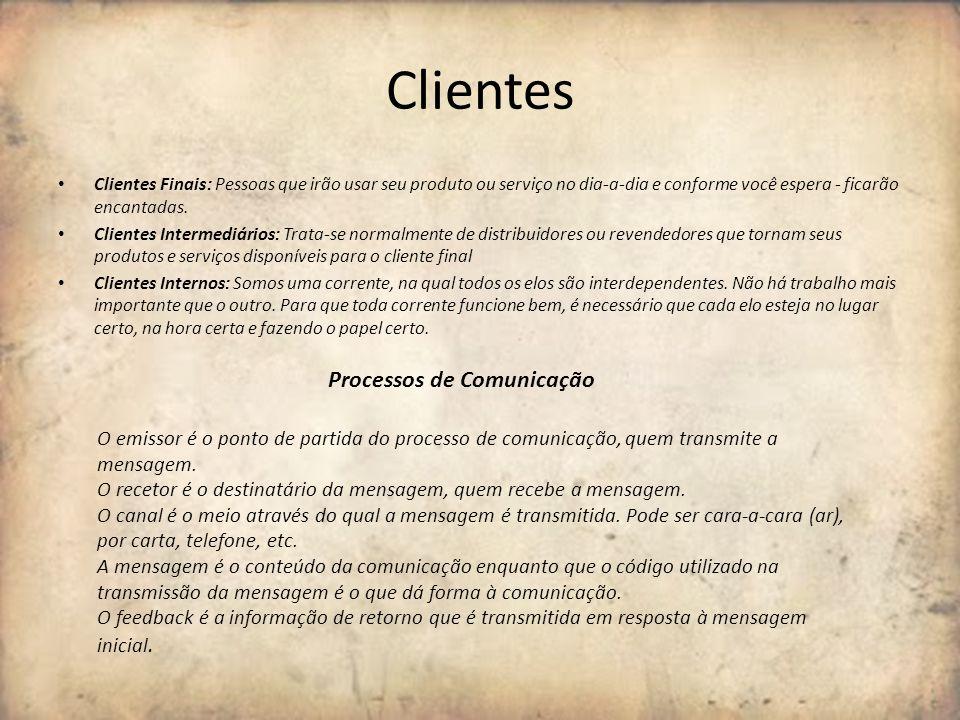 Clientes Clientes Finais: Pessoas que irão usar seu produto ou serviço no dia-a-dia e conforme você espera - ficarão encantadas. Clientes Intermediári