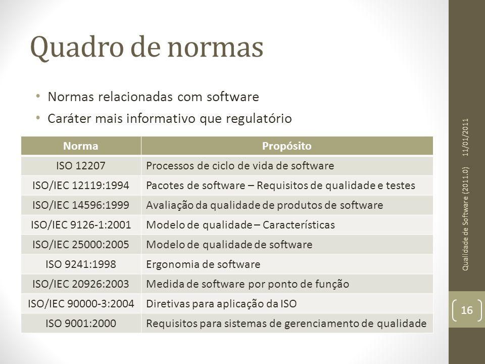 Quadro de normas Normas relacionadas com software Caráter mais informativo que regulatório 11/01/2011 Qualidade de Software (2011.0) 16 NormaPropósito