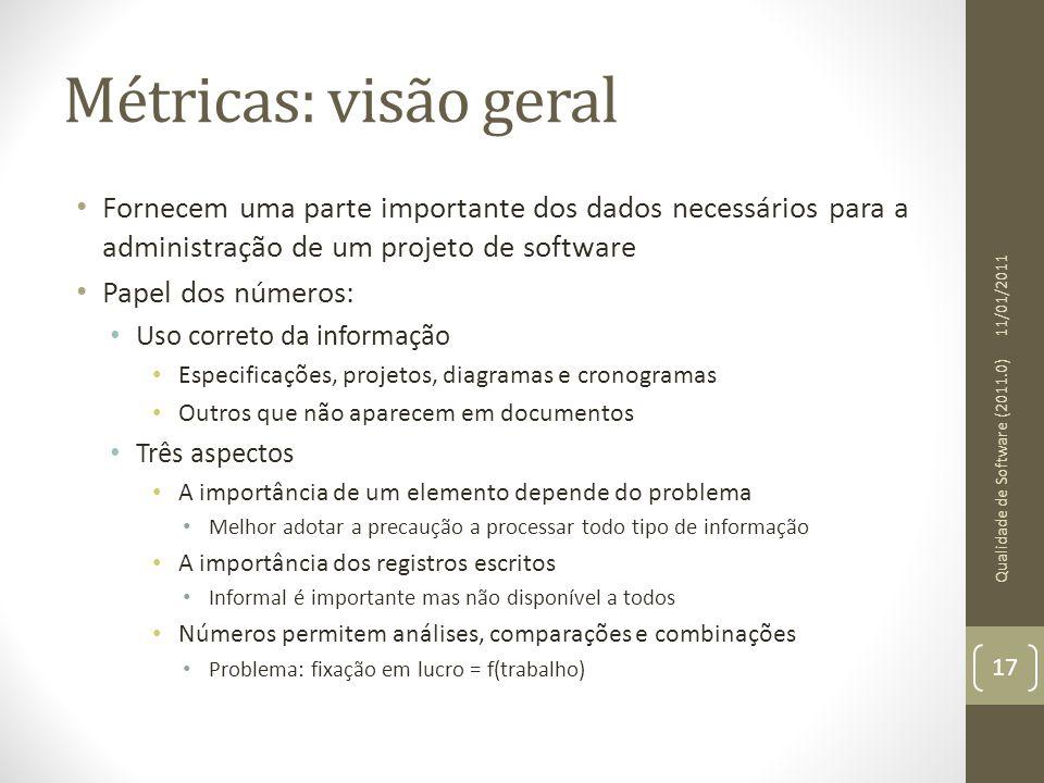 Métricas: visão geral Fornecem uma parte importante dos dados necessários para a administração de um projeto de software Papel dos números: Uso corret