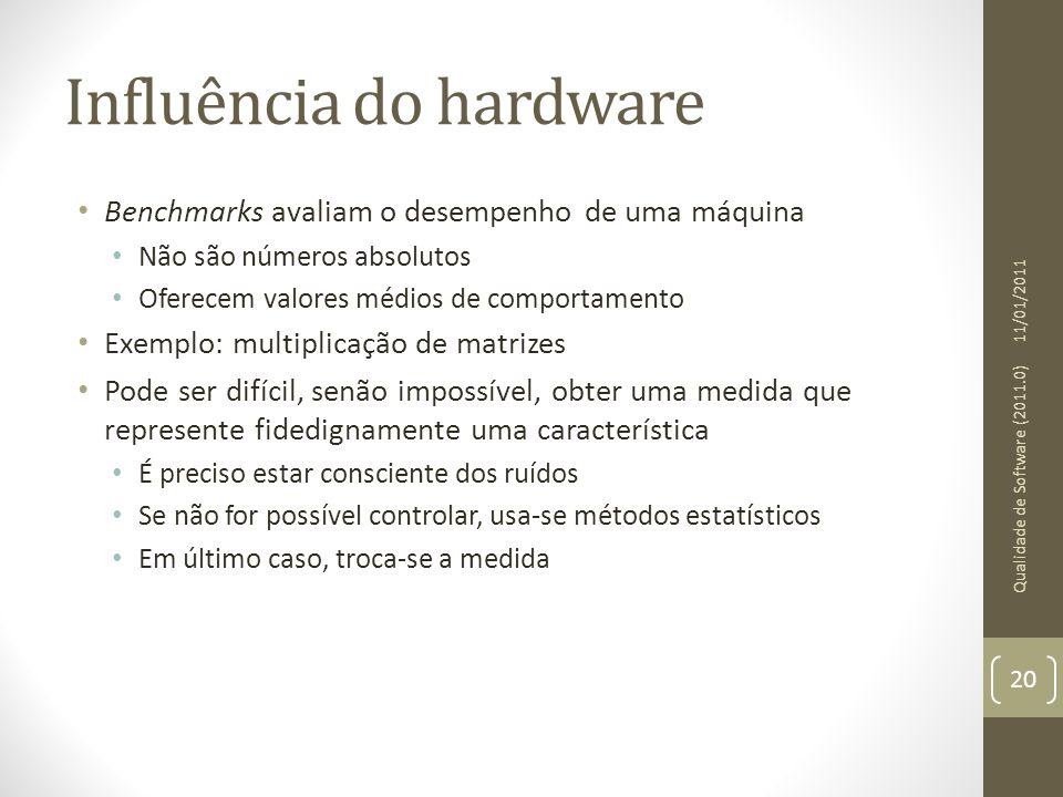 Influência do hardware Benchmarks avaliam o desempenho de uma máquina Não são números absolutos Oferecem valores médios de comportamento Exemplo: mult