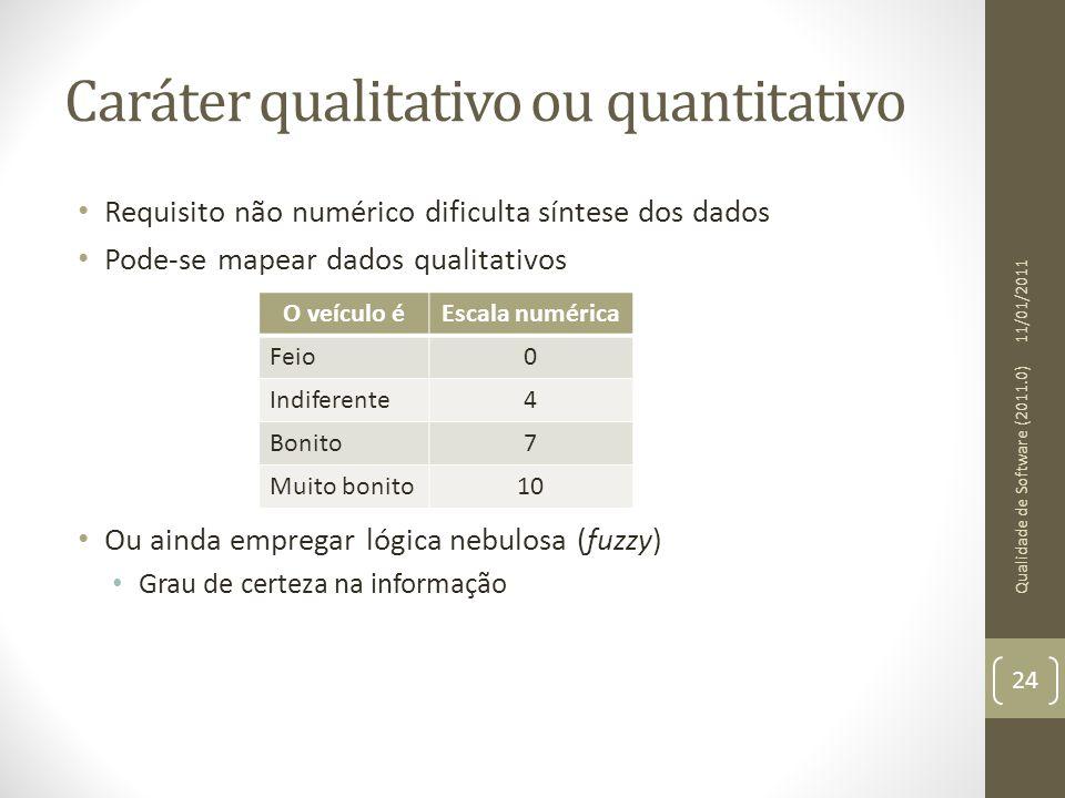 Caráter qualitativo ou quantitativo Requisito não numérico dificulta síntese dos dados Pode-se mapear dados qualitativos Ou ainda empregar lógica nebu