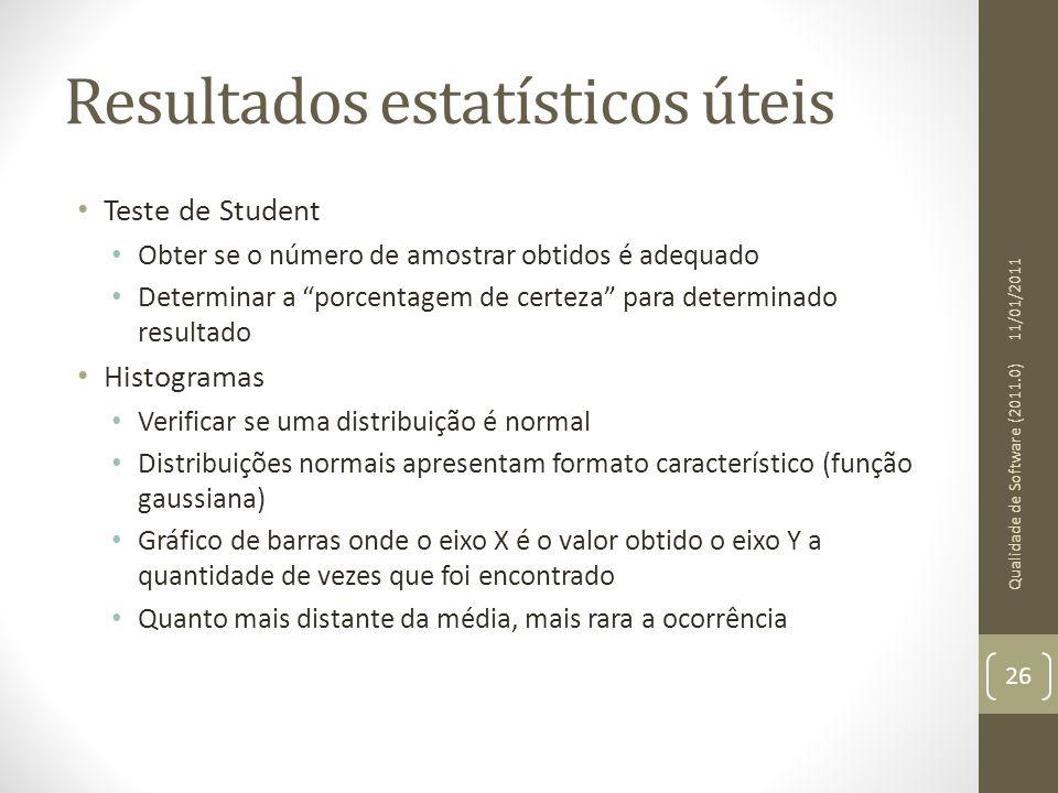 Resultados estatísticos úteis Teste de Student Obter se o número de amostrar obtidos é adequado Determinar a porcentagem de certeza para determinado r