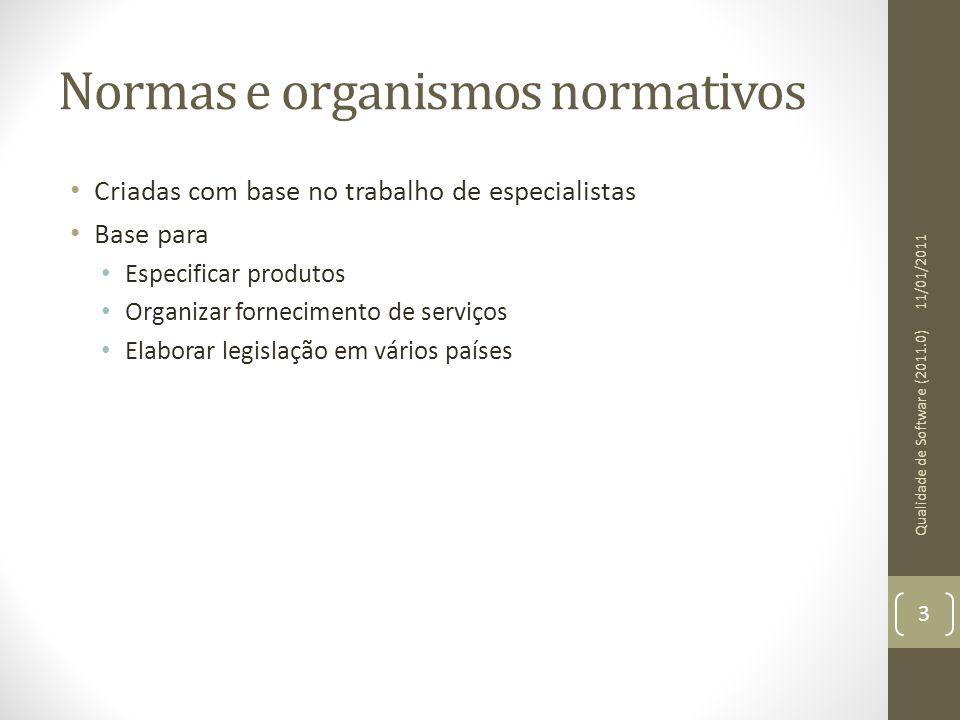 Normas e organismos normativos Criadas com base no trabalho de especialistas Base para Especificar produtos Organizar fornecimento de serviços Elabora