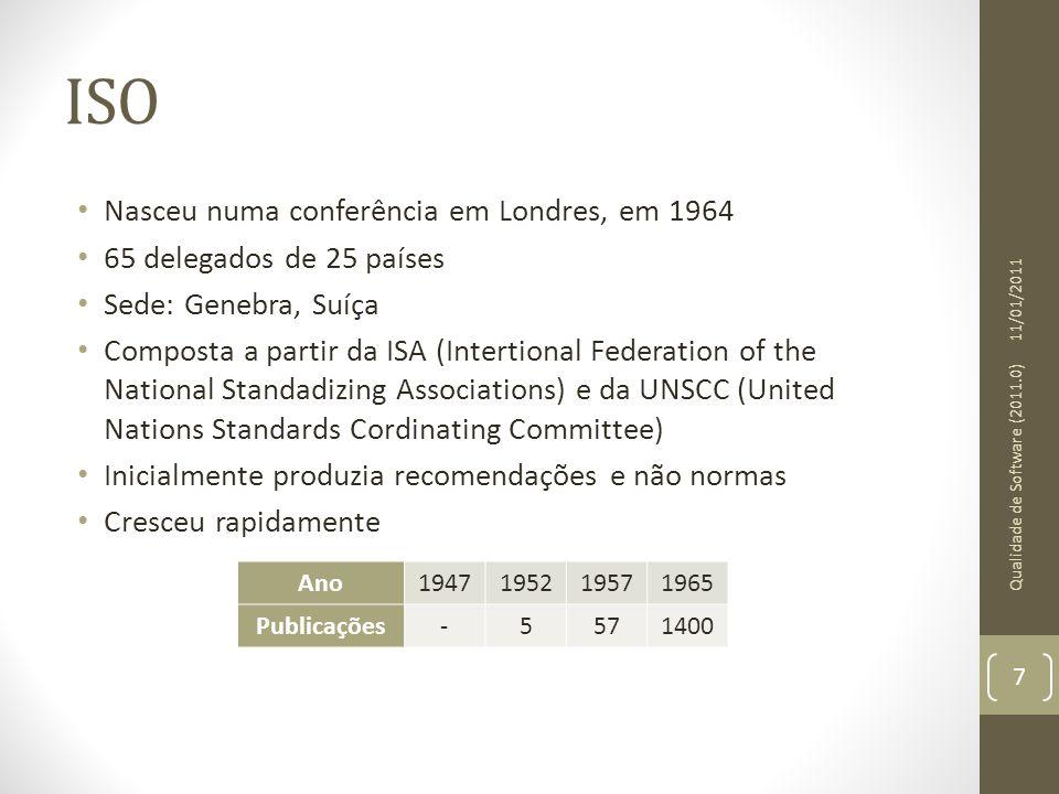 ISO Nasceu numa conferência em Londres, em 1964 65 delegados de 25 países Sede: Genebra, Suíça Composta a partir da ISA (Intertional Federation of the
