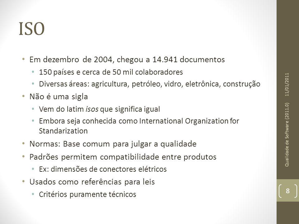 ISO Em dezembro de 2004, chegou a 14.941 documentos 150 países e cerca de 50 mil colaboradores Diversas áreas: agricultura, petróleo, vidro, eletrônic