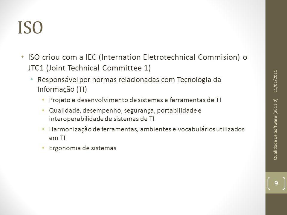 ISO ISO criou com a IEC (Internation Eletrotechnical Commision) o JTC1 (Joint Technical Committee 1) Responsável por normas relacionadas com Tecnologi