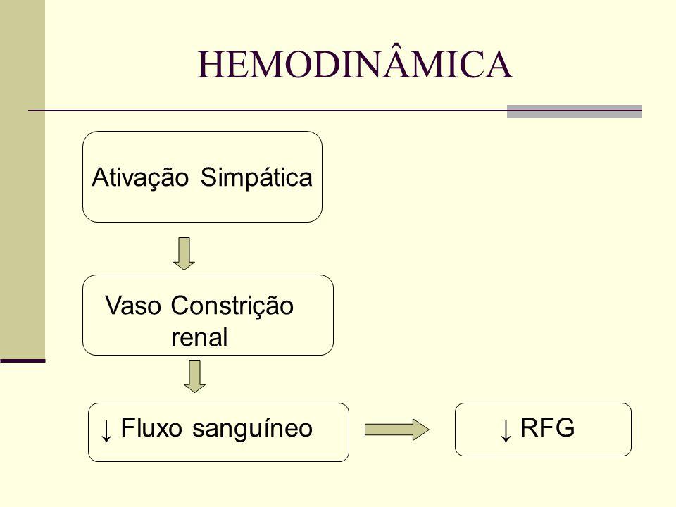 HEMODINÂMICA Ativação Simpática Vaso Constrição renal Fluxo sanguíneo RFG