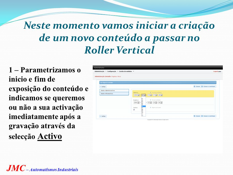 Clique em acção nova e está no ecrã de criar nova página de conteúdo JMC – Automatismos Industriais