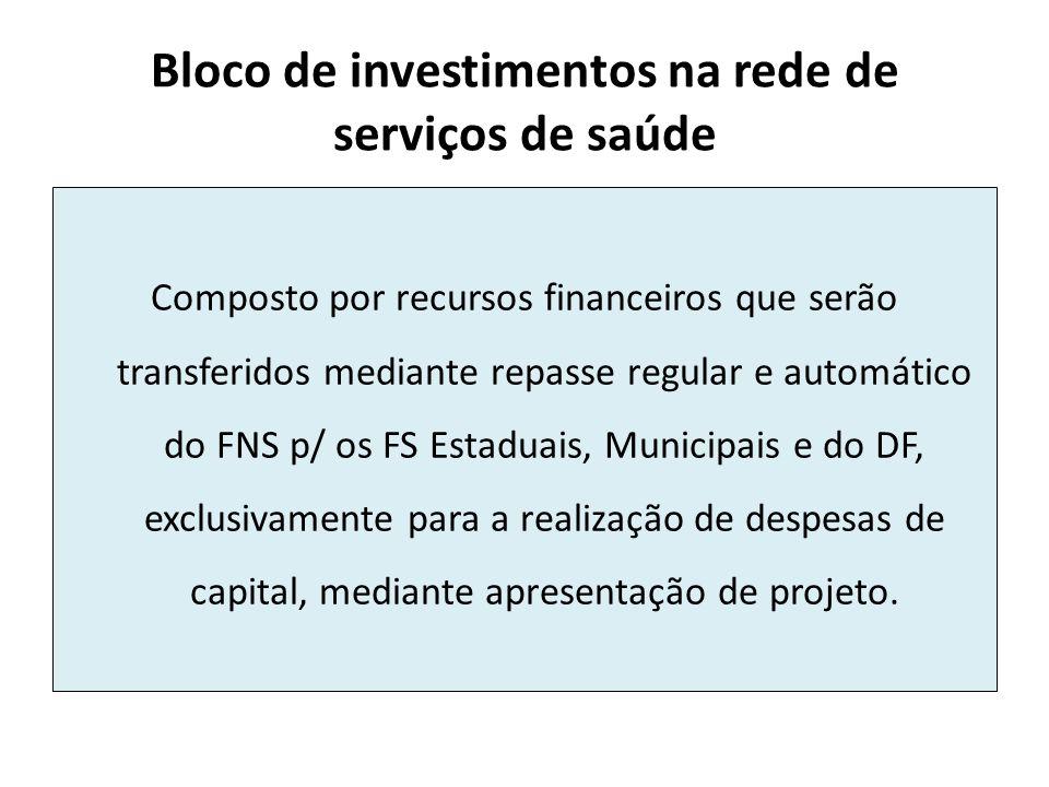Bloco de investimentos na rede de serviços de saúde Composto por recursos financeiros que serão transferidos mediante repasse regular e automático do