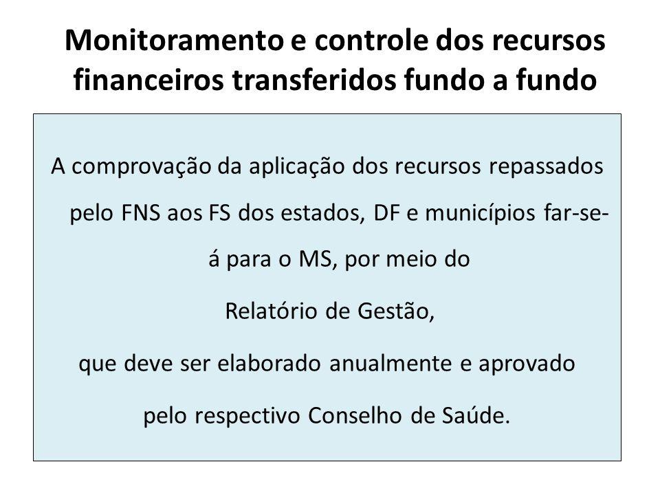 Monitoramento e controle dos recursos financeiros transferidos fundo a fundo A comprovação da aplicação dos recursos repassados pelo FNS aos FS dos es