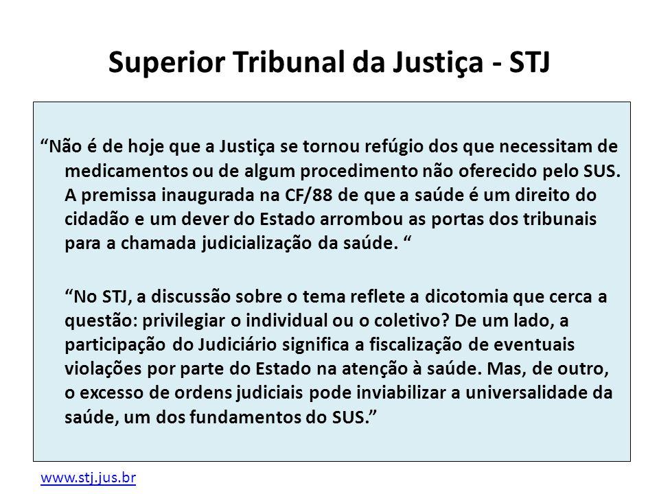 Superior Tribunal da Justiça - STJ Não é de hoje que a Justiça se tornou refúgio dos que necessitam de medicamentos ou de algum procedimento não ofere