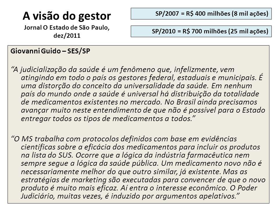 A visão do gestor Jornal O Estado de São Paulo, dez/2011 Giovanni Guido – SES/SP A judicialização da saúde é um fenômeno que, infelizmente, vem atingi