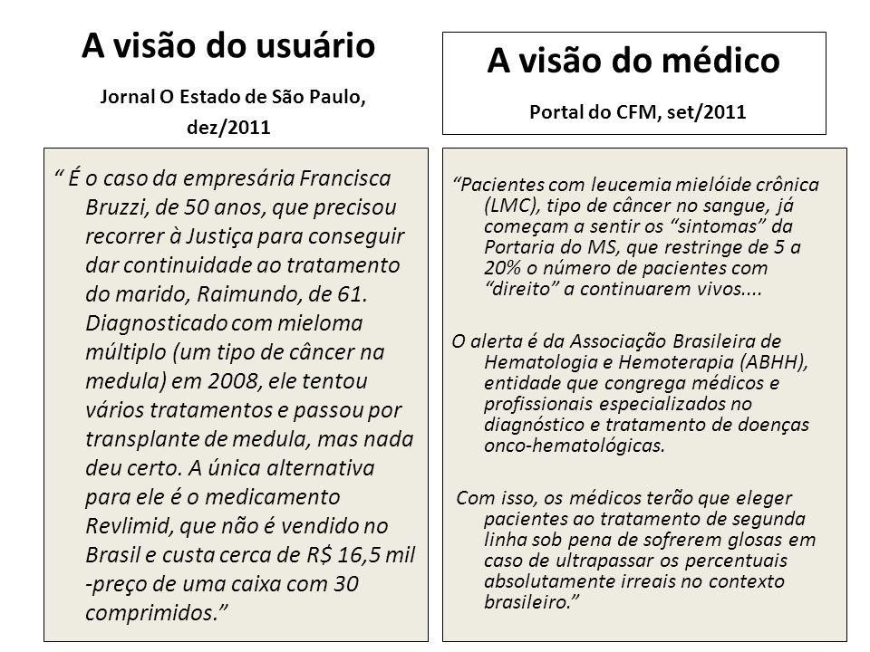 A visão do usuário Jornal O Estado de São Paulo, dez/2011 É o caso da empresária Francisca Bruzzi, de 50 anos, que precisou recorrer à Justiça para co