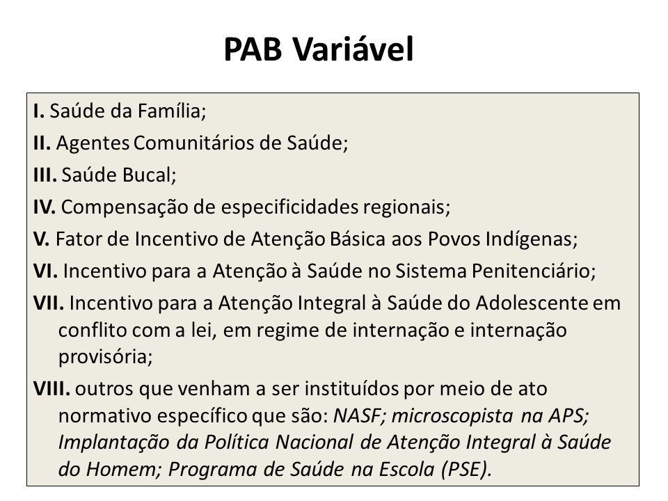 PAB Variável I. Saúde da Família; II. Agentes Comunitários de Saúde; III. Saúde Bucal; IV. Compensação de especificidades regionais; V. Fator de Incen