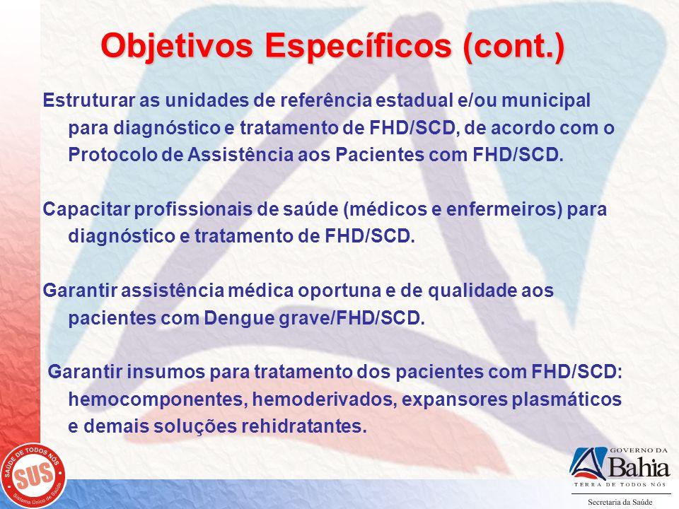 Objetivos Específicos (cont.) Estruturar as unidades de referência estadual e/ou municipal para diagnóstico e tratamento de FHD/SCD, de acordo com o Protocolo de Assistência aos Pacientes com FHD/SCD.