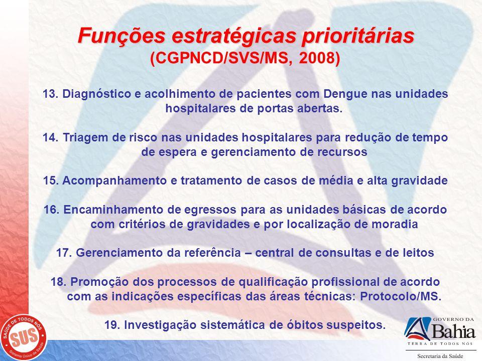 Funções estratégicas prioritárias (CGPNCD/SVS/MS, 2008) 13.