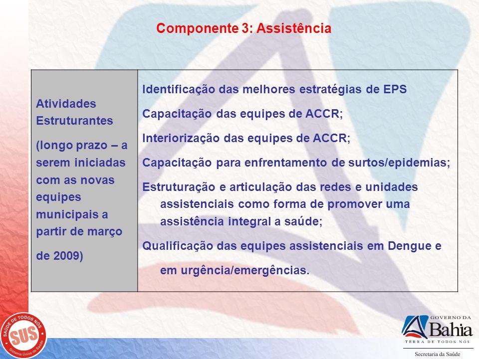 Componente 3: Assistência Atividades Estruturantes (longo prazo – a serem iniciadas com as novas equipes municipais a partir de março de 2009) Identificação das melhores estratégias de EPS Capacitação das equipes de ACCR; Interiorização das equipes de ACCR; Capacitação para enfrentamento de surtos/epidemias; Estruturação e articulação das redes e unidades assistenciais como forma de promover uma assistência integral a saúde; Qualificação das equipes assistenciais em Dengue e em urgência/emergências.