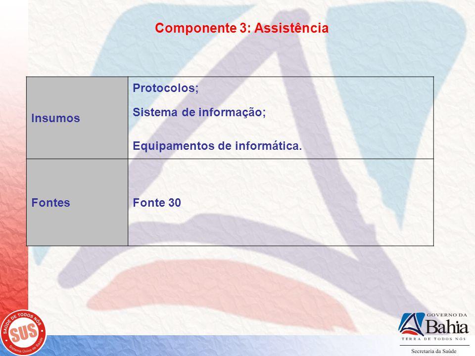 Componente 3: Assistência Insumos Protocolos; Sistema de informação; Equipamentos de informática.