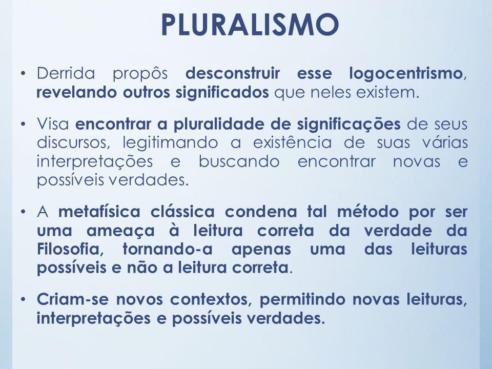 Derrida propôs desconstruir esse logocentrismo, revelando outros significados que neles existem. Visa encontrar a pluralidade de significações de seus