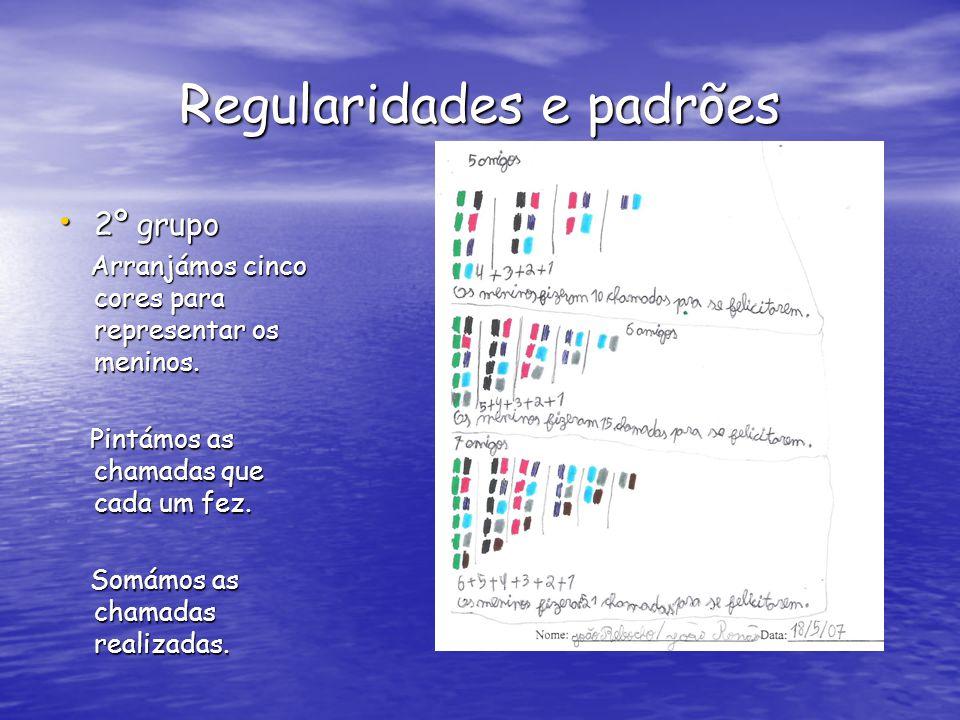 Regularidades e padrões 2º grupo 2º grupo Arranjámos cinco cores para representar os meninos.