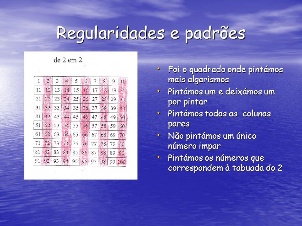Regularidades e padrões Os números quadrados iniciam-se com quatro pintas Os números quadrados iniciam-se com quatro pintas Para passar de um termo para o seguinte aumenta-se 4 pintas Para passar de um termo para o seguinte aumenta-se 4 pintas Os números quadrados representam a tabuada do 4 Os números quadrados representam a tabuada do 4