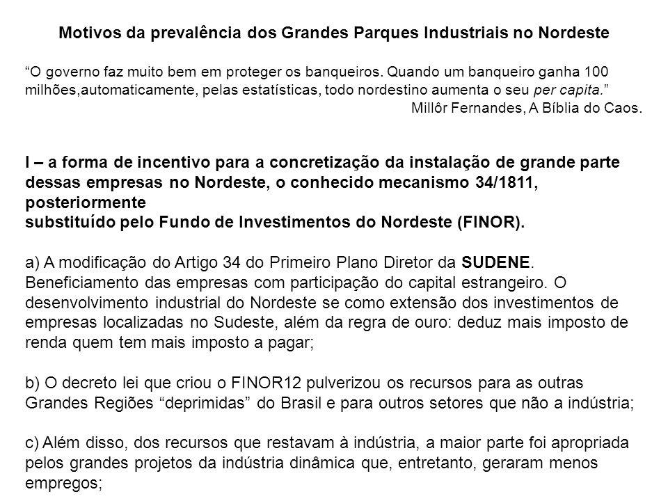 Motivos da prevalência dos Grandes Parques Industriais no Nordeste O governo faz muito bem em proteger os banqueiros.