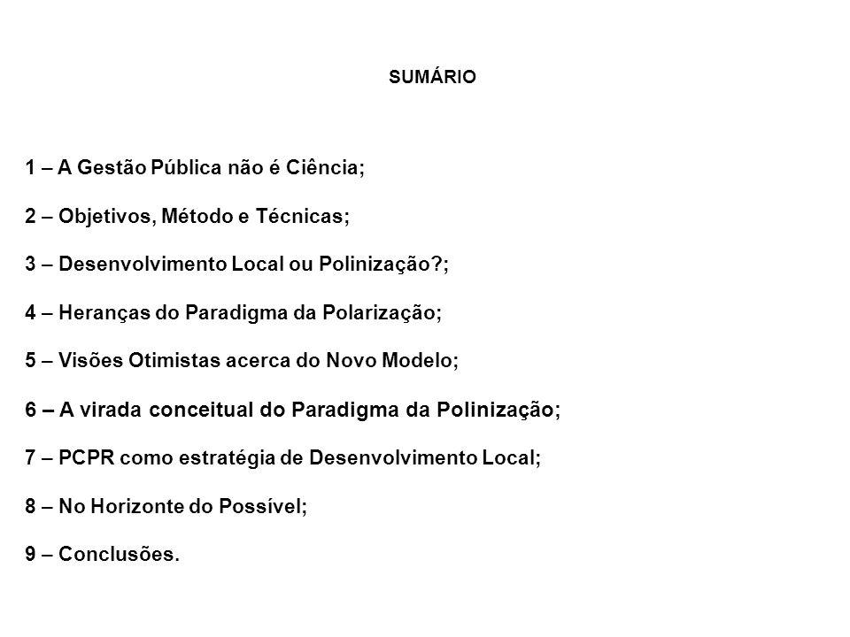 SUMÁRIO 1 – A Gestão Pública não é Ciência; 2 – Objetivos, Método e Técnicas; 3 – Desenvolvimento Local ou Polinização ; 4 – Heranças do Paradigma da Polarização; 5 – Visões Otimistas acerca do Novo Modelo; 6 – A virada conceitual do Paradigma da Polinização; 7 – PCPR como estratégia de Desenvolvimento Local; 8 – No Horizonte do Possível; 9 – Conclusões.