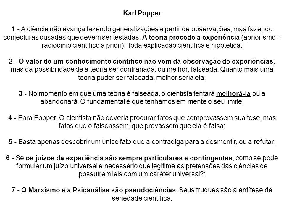 Karl Popper 1 - A ciência não avança fazendo generalizações a partir de observações, mas fazendo conjecturas ousadas que devem ser testadas.