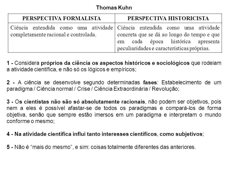Thomas Kuhn PERSPECTIVA FORMALISTAPERSPECTIVA HISTORICISTA Ciência entendida como uma atividade completamente racional e controlada.