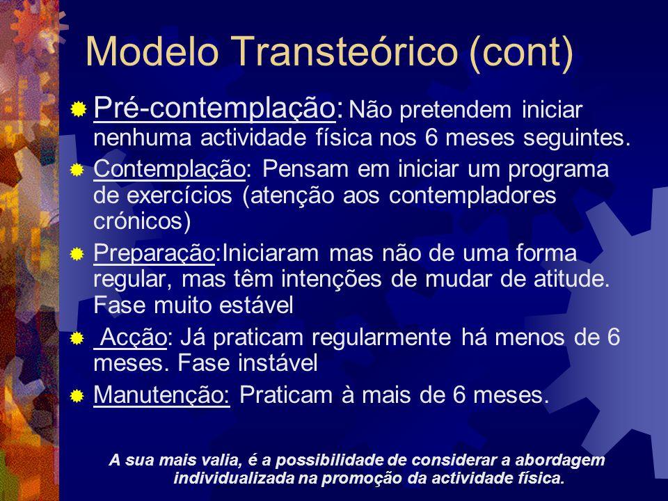 Modelo Transteórico (cont) Pré-contemplação: Não pretendem iniciar nenhuma actividade física nos 6 meses seguintes. Contemplação: Pensam em iniciar um