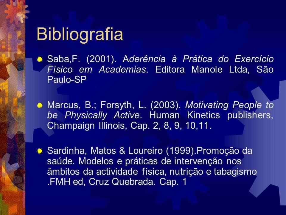 Bibliografia Saba,F. (2001). Aderência à Prática do Exercício Físico em Academias. Editora Manole Ltda, São Paulo-SP Marcus, B.; Forsyth, L. (2003). M