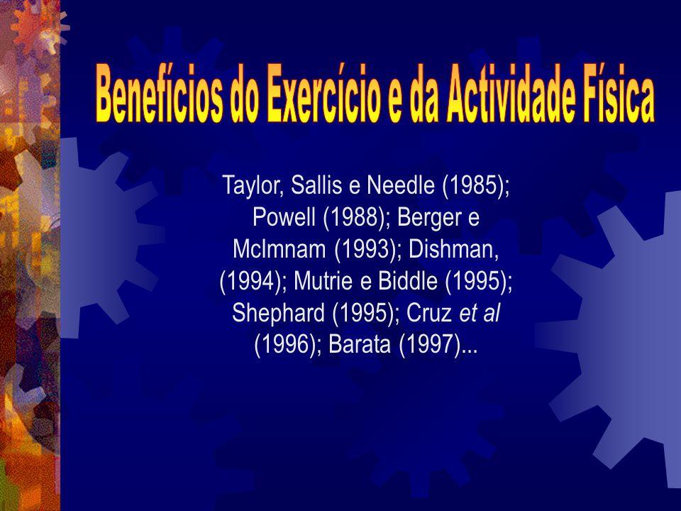 Taylor, Sallis e Needle (1985); Powell (1988); Berger e McImnam (1993); Dishman, (1994); Mutrie e Biddle (1995); Shephard (1995); Cruz et al (1996); B