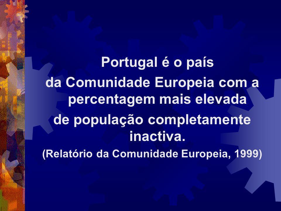 Portugal é o país da Comunidade Europeia com a percentagem mais elevada de população completamente inactiva. (Relatório da Comunidade Europeia, 1999)