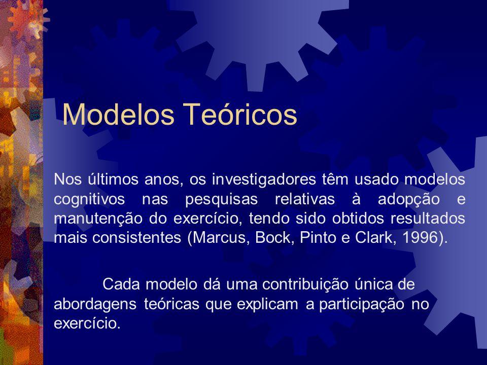 Modelos Teóricos Nos últimos anos, os investigadores têm usado modelos cognitivos nas pesquisas relativas à adopção e manutenção do exercício, tendo s