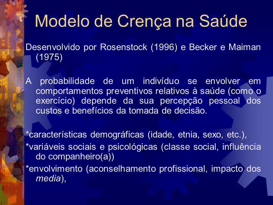 Modelo de Crença na Saúde Desenvolvido por Rosenstock (1996) e Becker e Maiman (1975) A probabilidade de um indivíduo se envolver em comportamentos pr