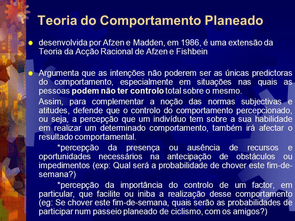 Teoria do Comportamento Planeado desenvolvida por Afzen e Madden, em 1986, é uma extensão da Teoria da Acção Racional de Afzen e Fishbein podem não te