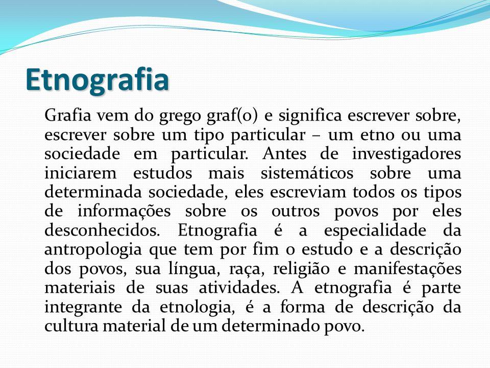 Etnografia Grafia vem do grego graf(o) e significa escrever sobre, escrever sobre um tipo particular – um etno ou uma sociedade em particular. Antes d