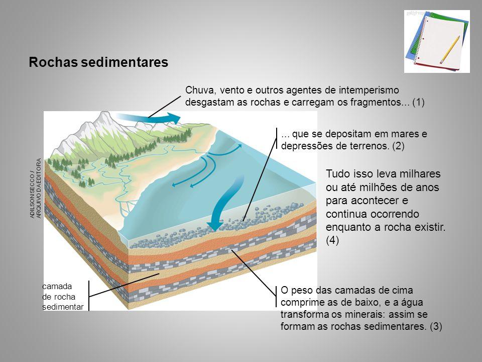 Rochas sedimentares Tudo isso leva milhares ou até milhões de anos para acontecer e continua ocorrendo enquanto a rocha existir. (4) ADILSON SECCO / A