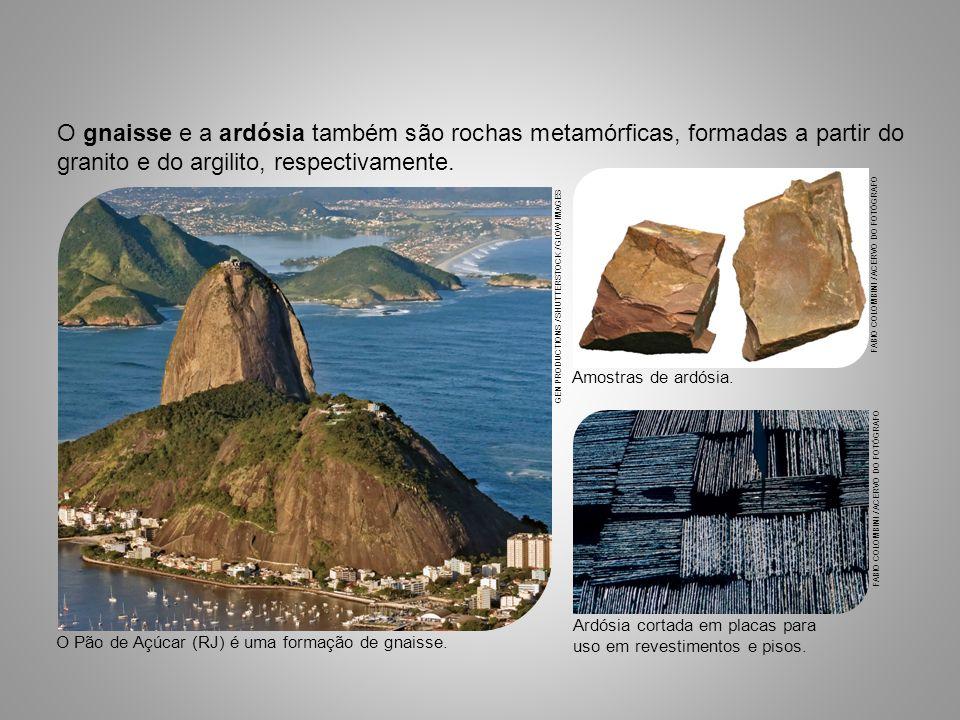 O gnaisse e a ardósia também são rochas metamórficas, formadas a partir do granito e do argilito, respectivamente. Amostras de ardósia. FABIO COLOMBIN