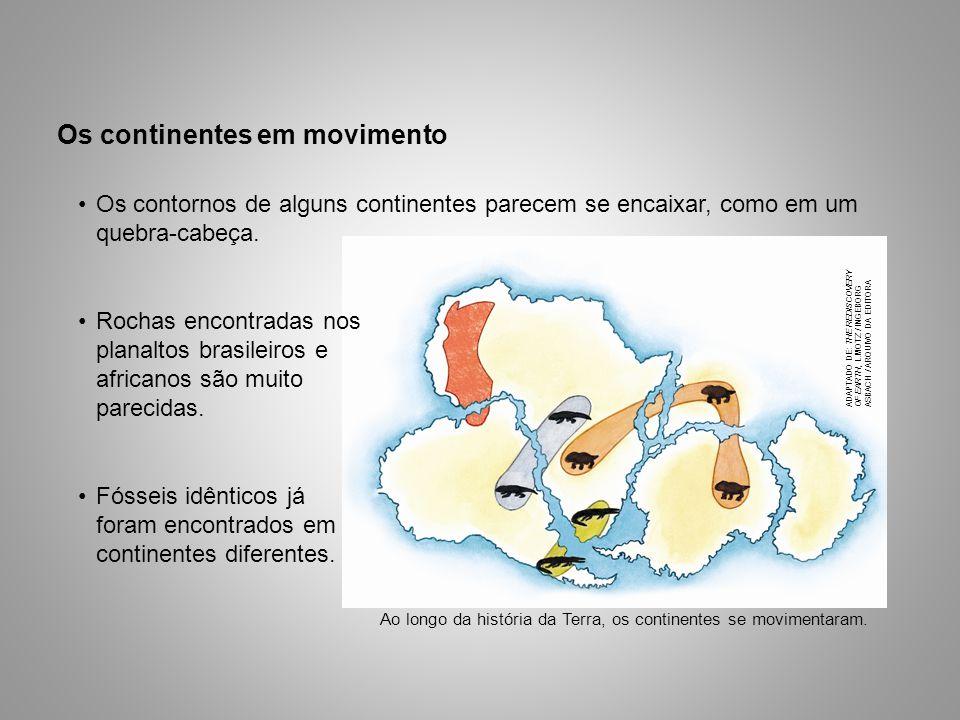Os continentes em movimento Fósseis idênticos já foram encontrados em continentes diferentes. Ao longo da história da Terra, os continentes se movimen