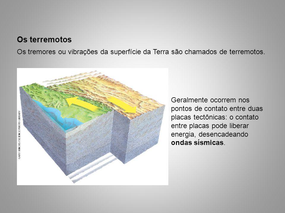 Os terremotos Geralmente ocorrem nos pontos de contato entre duas placas tectônicas: o contato entre placas pode liberar energia, desencadeando ondas