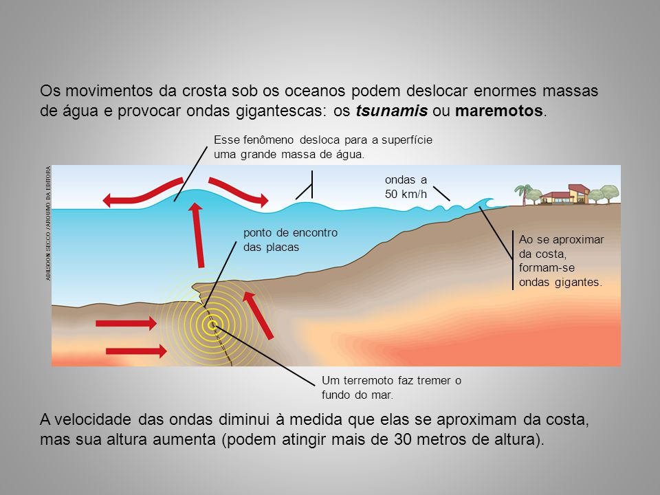 A velocidade das ondas diminui à medida que elas se aproximam da costa, mas sua altura aumenta (podem atingir mais de 30 metros de altura). Os movimen