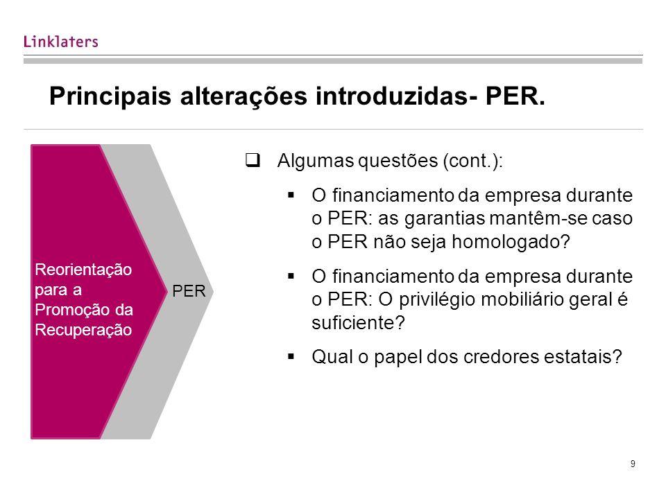 9 Principais alterações introduzidas- PER.