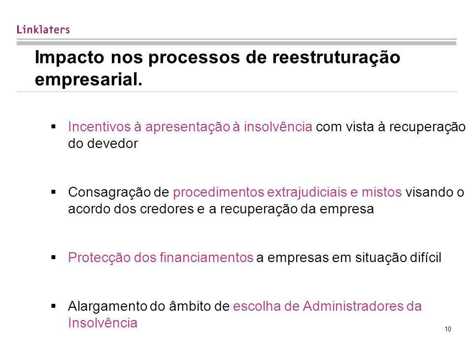 10 Impacto nos processos de reestruturação empresarial.