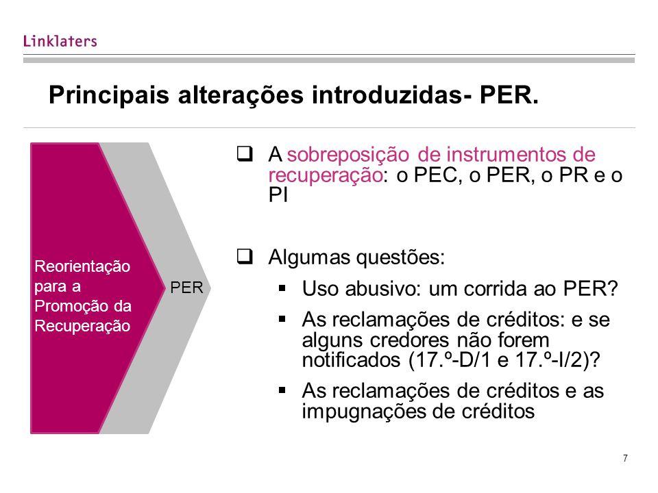7 Principais alterações introduzidas- PER.