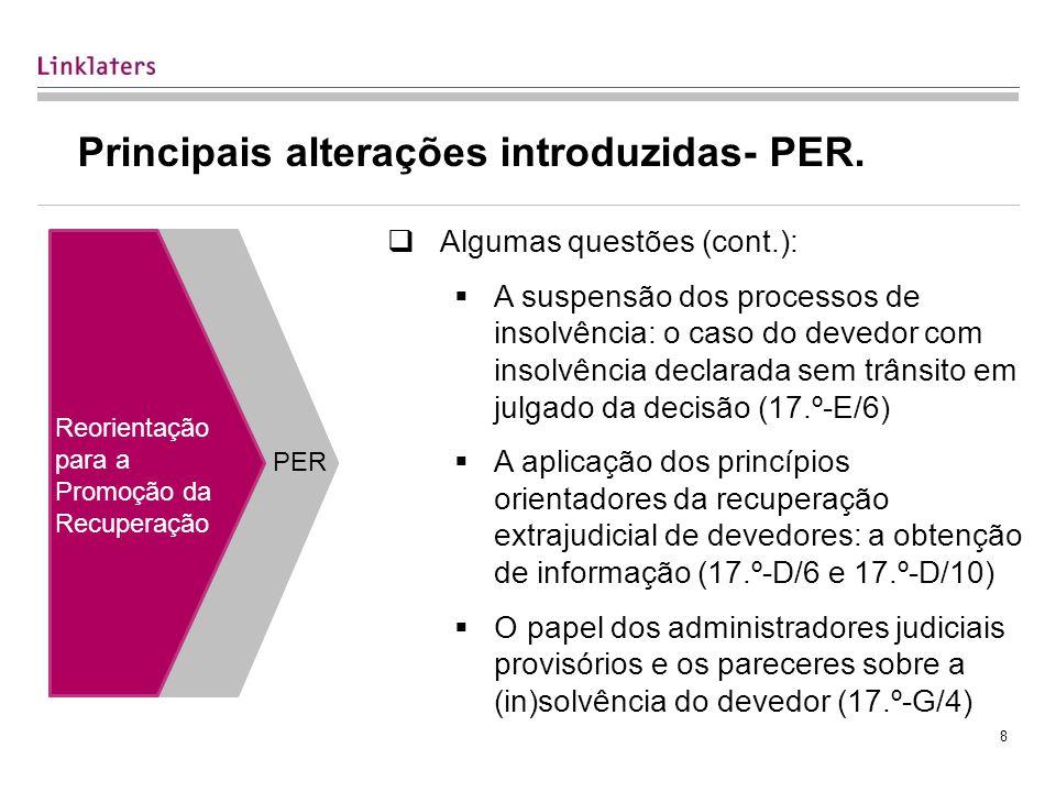 8 Principais alterações introduzidas- PER.
